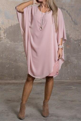 Jamie - Enfärgad klänning med fint Fall - Gammelrosa 534433ad4e549