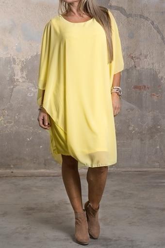 Jamie - Enfärgad klänning med fint Fall - Gul 0eb1364a702a5