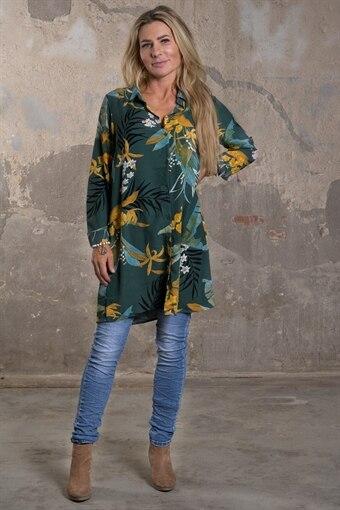 Stephanie - Längre blus med Blommor o Blad - Mörkgrön bab68e169447b