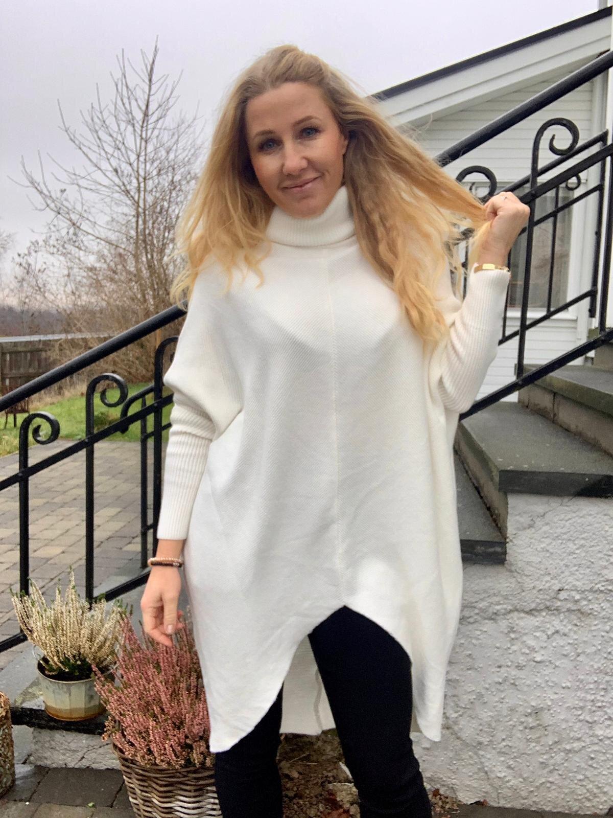 Bonnie - Stickad tröja med polokrage - Cream