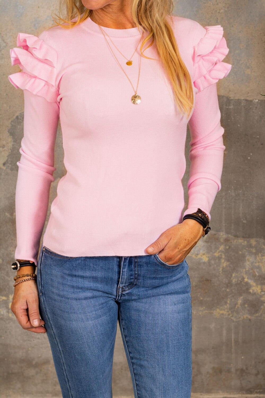 Brooke tröja - Volanger - Rosa
