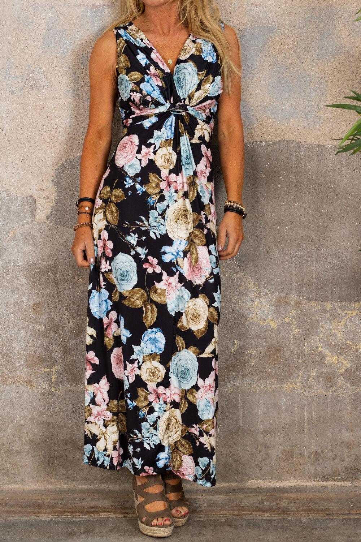 Carly långklänning - Blommor - Svart