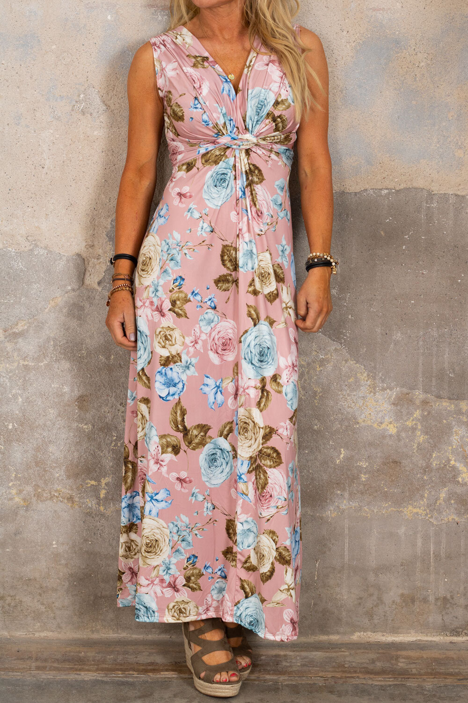 Carly långklänning - Blommor - Rosa