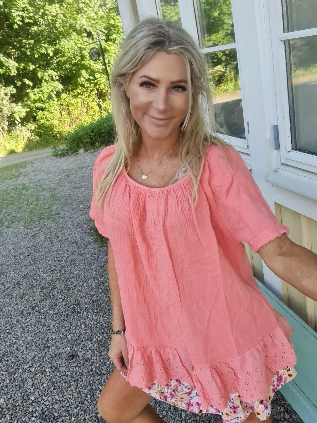 Christa topp - Spets & Våfflad - Peach