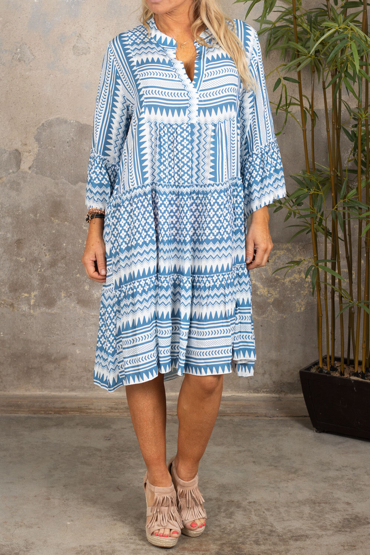 Cindy klänning - Mönstrad - Blå