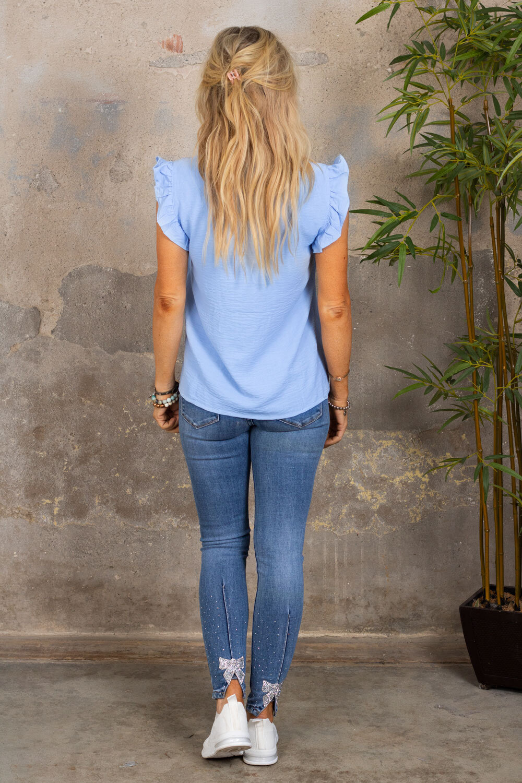 Denise topp - Fjärilsärm - Blå