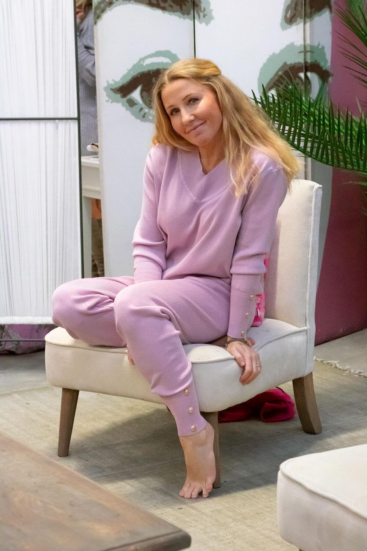 Ebba stickat set - Knappar - Lavendel