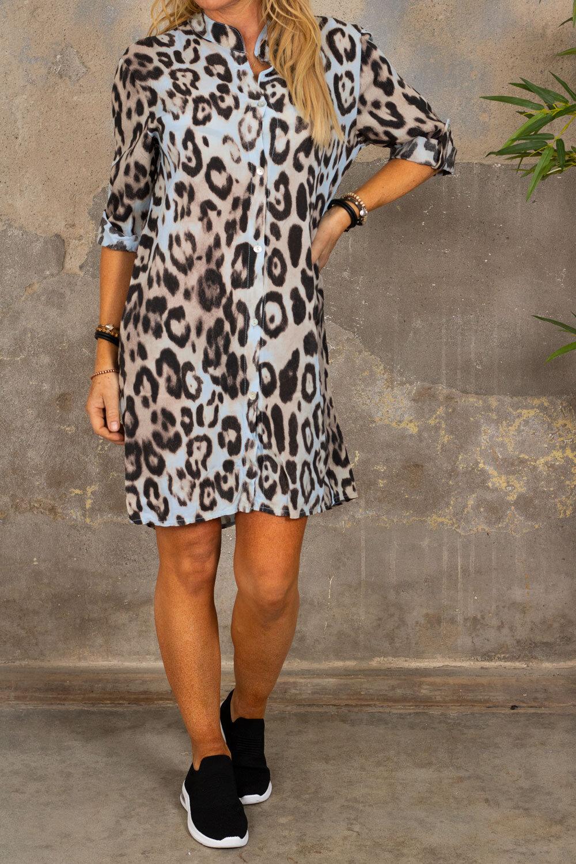 Ebony långskjorta - Leopardmönster - Ljusblå