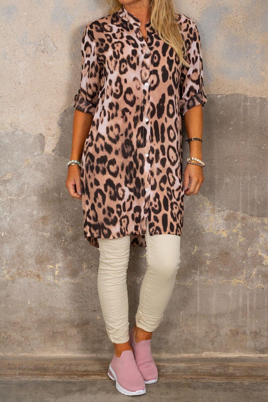 Ebony långskjorta - Leopardmönster - Rosa