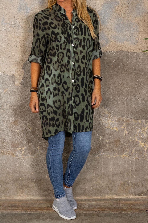 Ebony långskjorta - Leopardmönster - Khaki