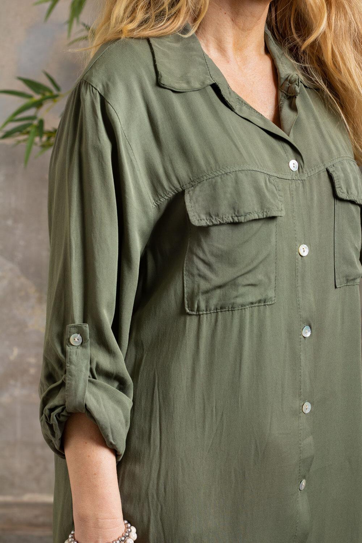 Elaine långskjorta - Bröstfickor -  Khaki