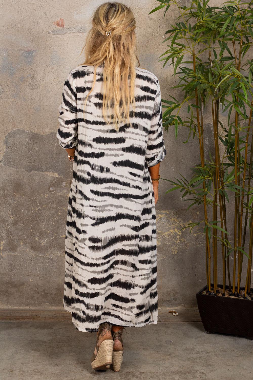 Felicia Långskjorta - Zebra - Beige