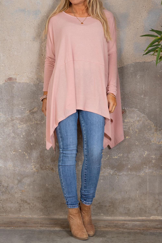 Gabby Oversize tröja - Längre sidor - Rosa