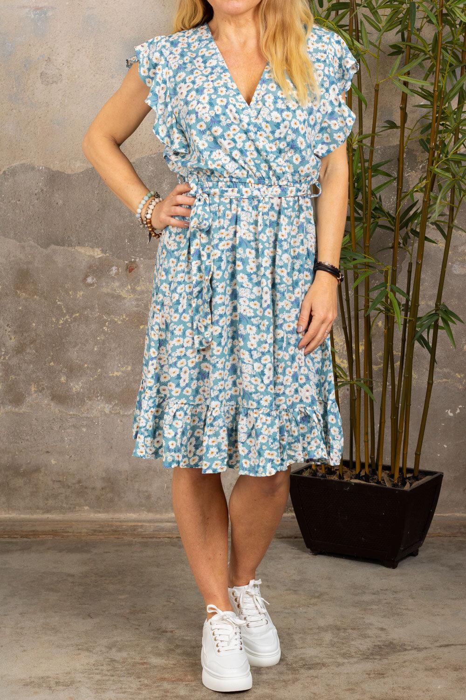 Gabby klänning - Blommig & Volanger - Blå