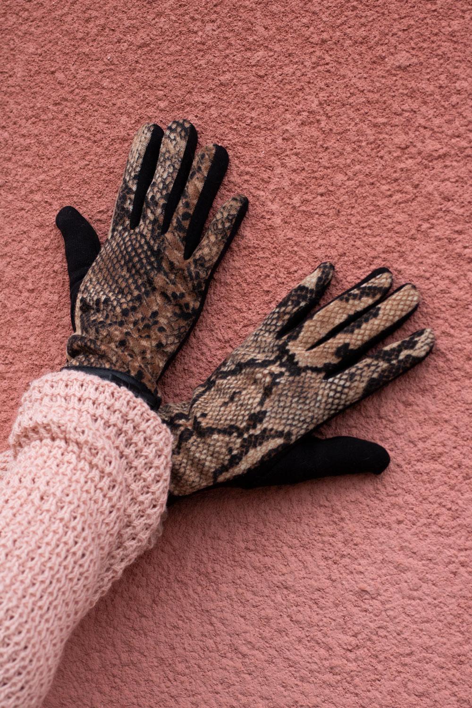 Handskar---Snake---brun
