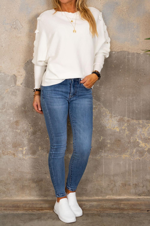 Isolde - Finstickad tröja med rosetter - Cream