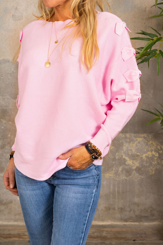 Isolde - Finstickad tröja med rosetter - Rosa
