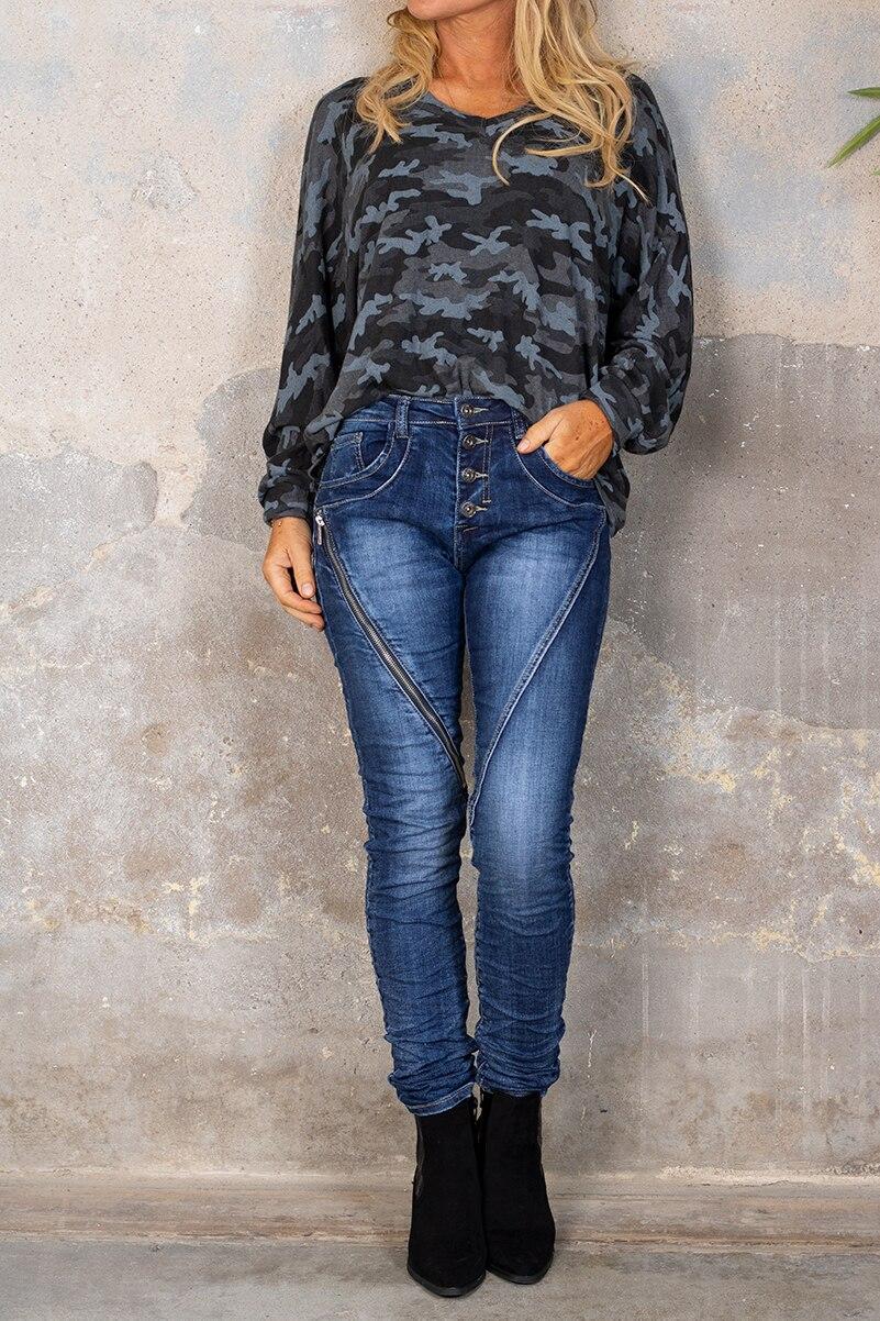 Jeans 98209 - Lang dragkedja - Denim hel