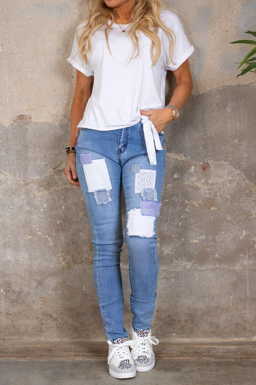 Jeans med lappar - JW9158 - Ljustvätt