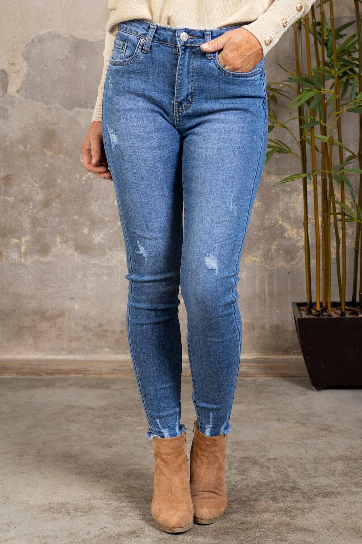 Jeans med slitningar - C112 - Denim