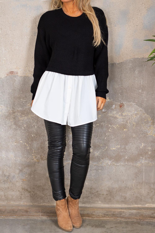 Jenny tröja - Skjorta nertill - Svart