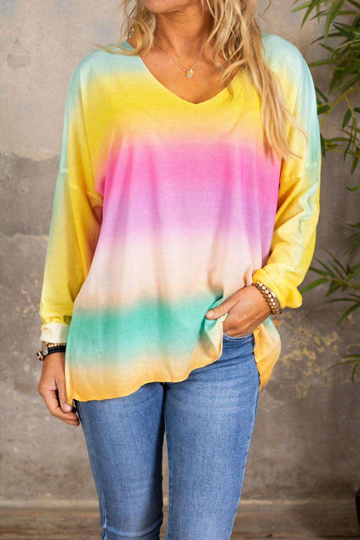 Jessica v-ringad tröja - Rainbow