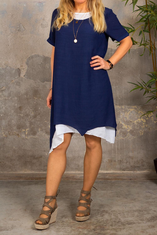 Jolie kortärmad klänning - Navy/Cream