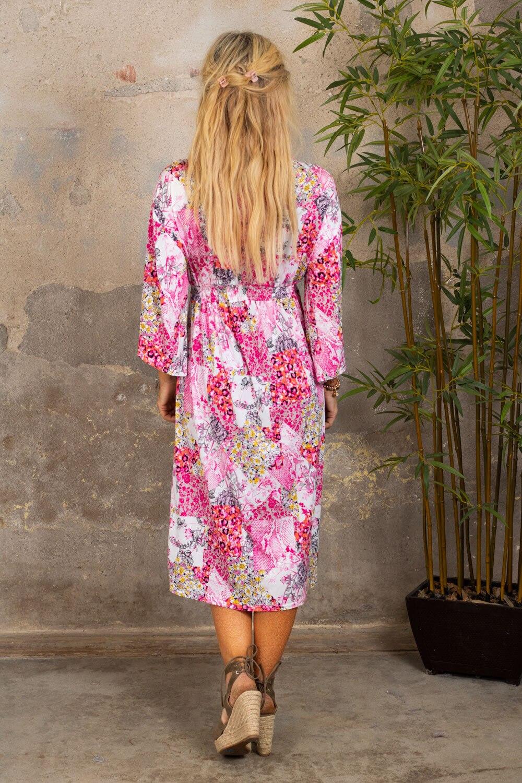 Julia klänning - Blommönster & Smock - Rosa