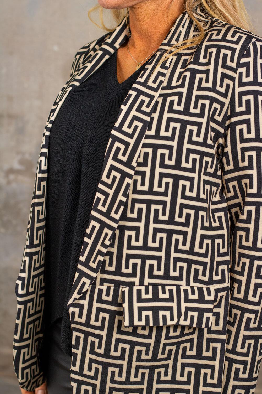 Kavaj - Grekiskt mönster - Svart/Beige