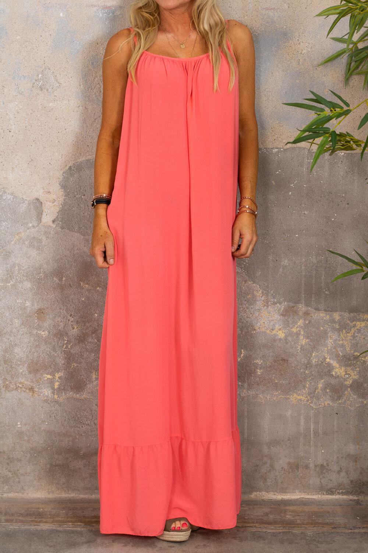 Kelsie långklänning - V-ringad rygg - Corall