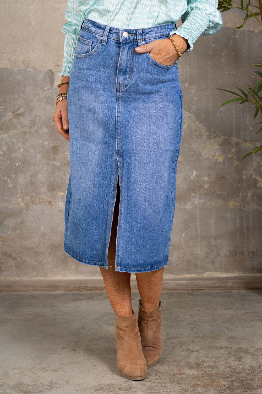 Lång jeanskjol J2576 - Denim
