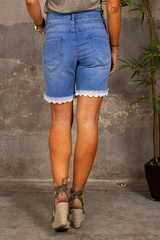 Långa Shorts med Spets - S9304A - Denim