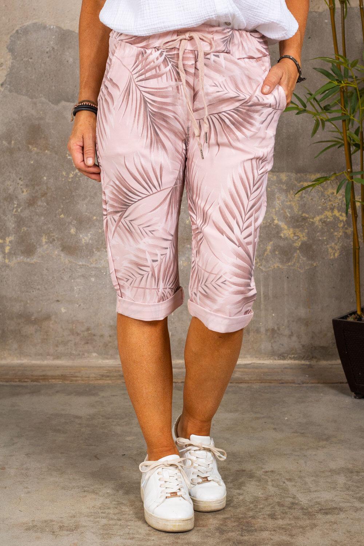 Långa stretch shorts 5585 - Blad - Rosa