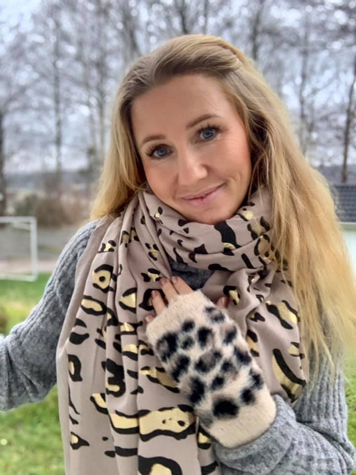Leopardmönstrad Sjal - Taupe