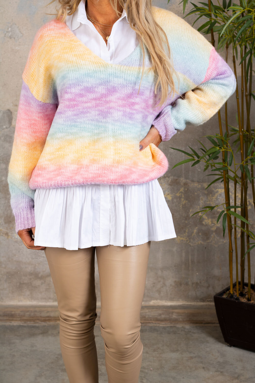 Lilith stickad tröja - Rainbow