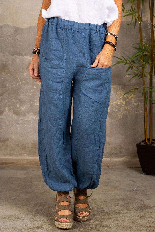 Linnebyxor - Fickor - Jeansblå