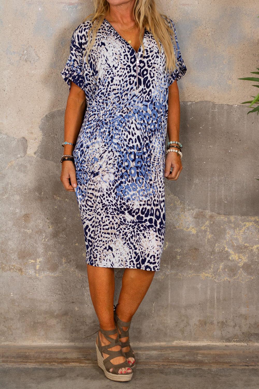 Malva Klänning - Leopardmönster - Blå