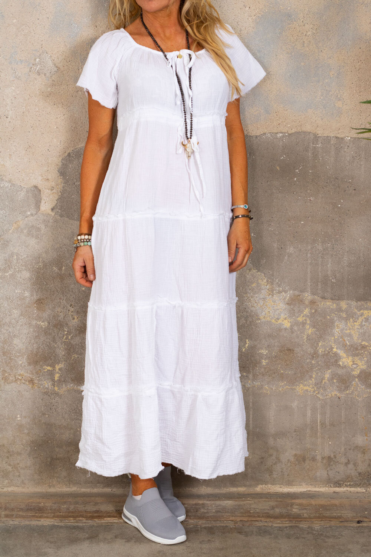 Moa klänning med råa kanter - Vit