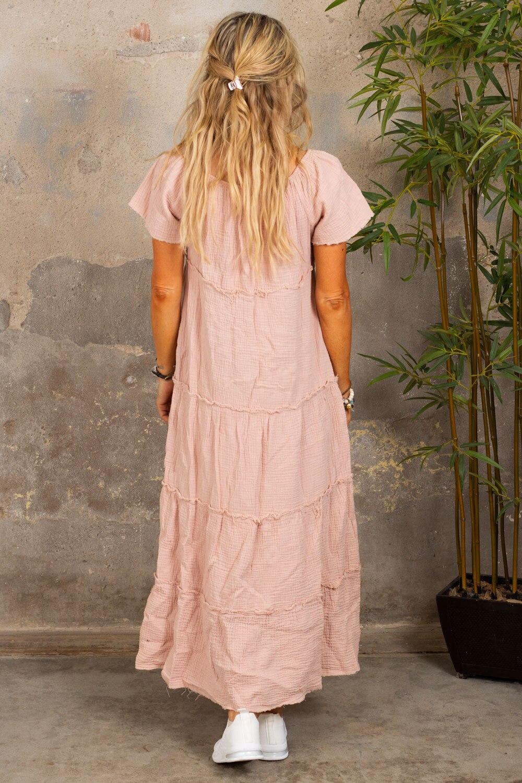 Moa klänning med råa kanter - Gammelrosa