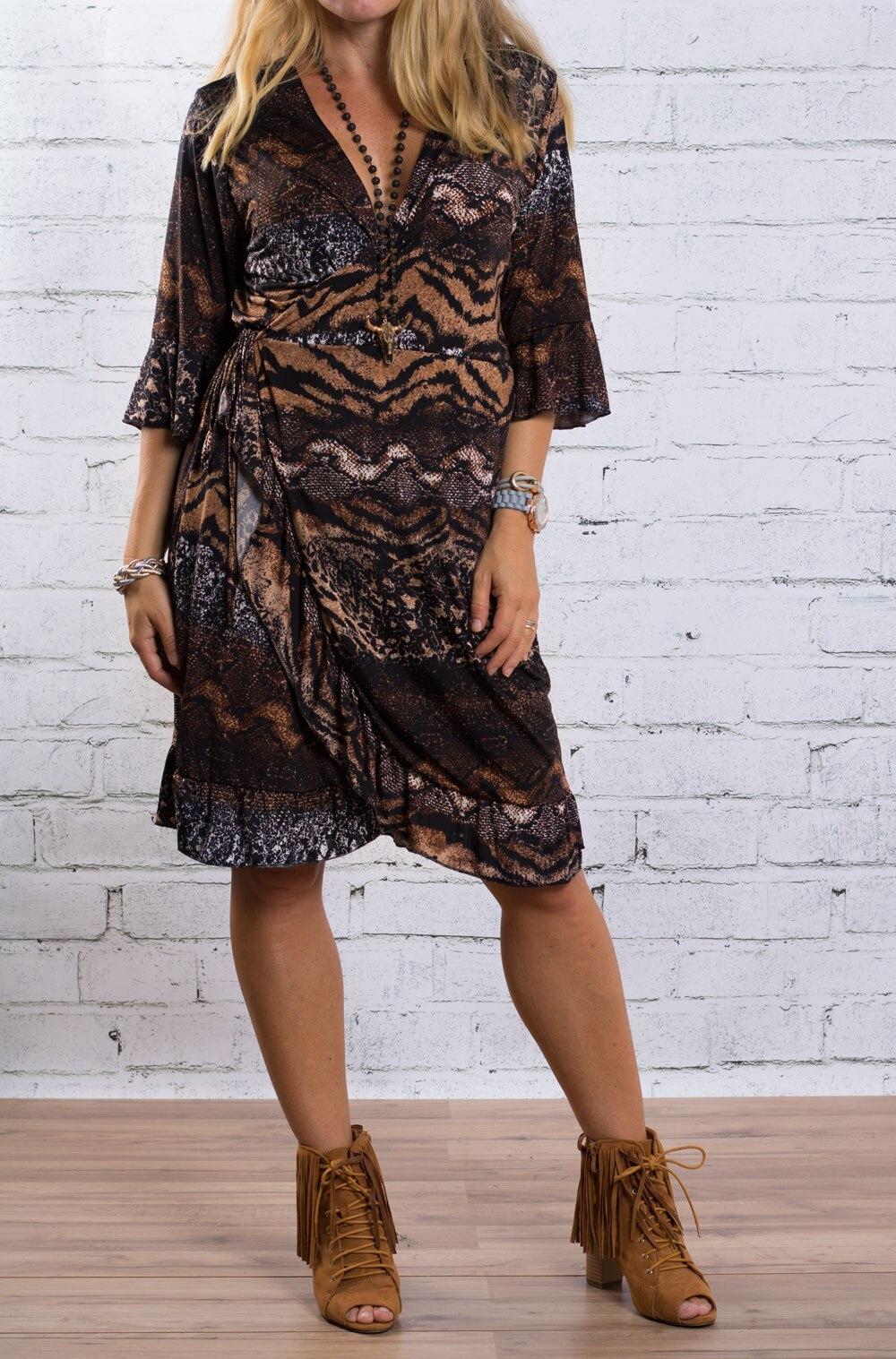 Penny - Omlott klänning med volanger - Animal - Brun d7fac2753ecfc