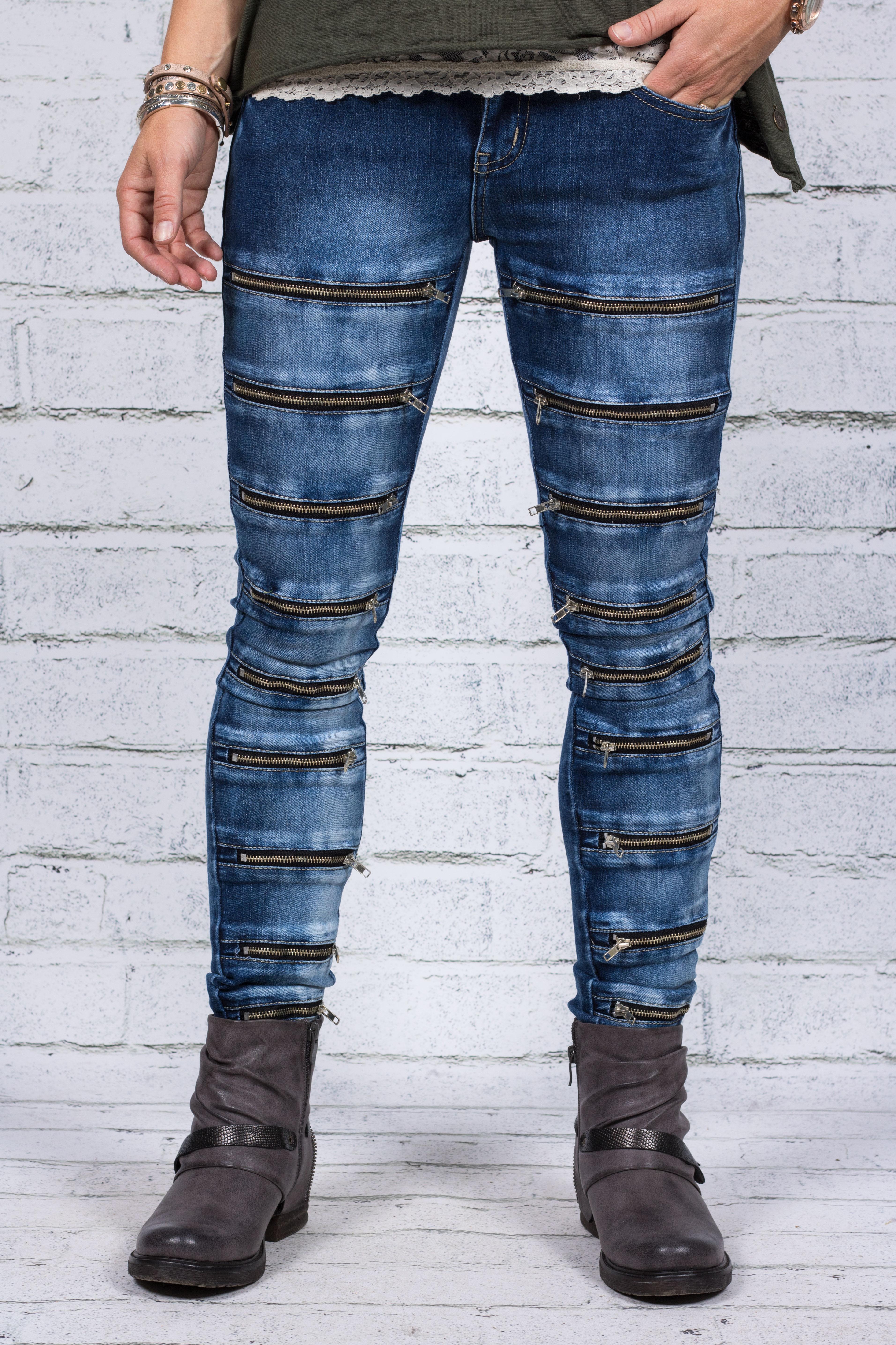 Jeans Q1747 - Dragkedjor på benen - Mörktvätt 0310d5cb6b9e7