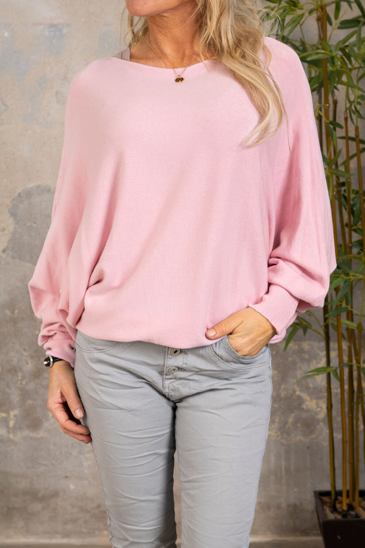 Renee Oversize tröja - Detaljer i rygg - Rosa