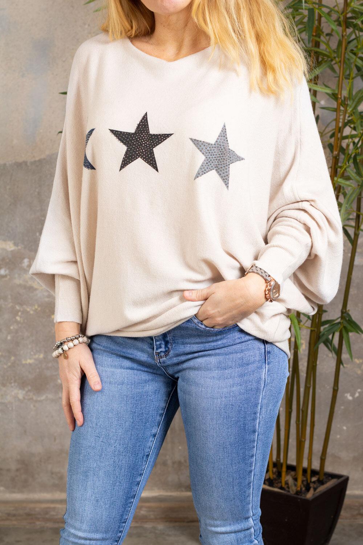 Renee Oversize tröja - Stjärnor - Beige