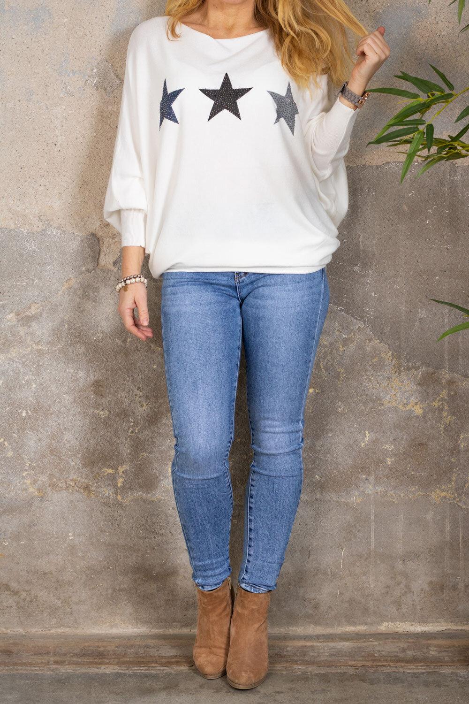 Renee Oversize tröja - Stjärnor - Cream