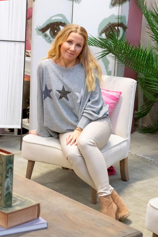 Renee Oversize tröja - Stjärnor - Grå