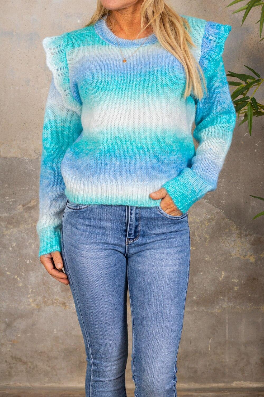 Rosalie Stickad tröja - Volangärm - Aqua