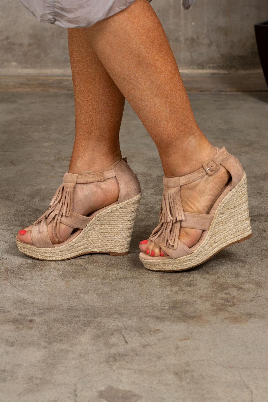 Sandalett Kilklack - 39 - Beige