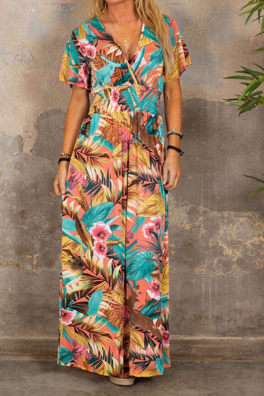 Sheila långklänning - Tropisk - Corall