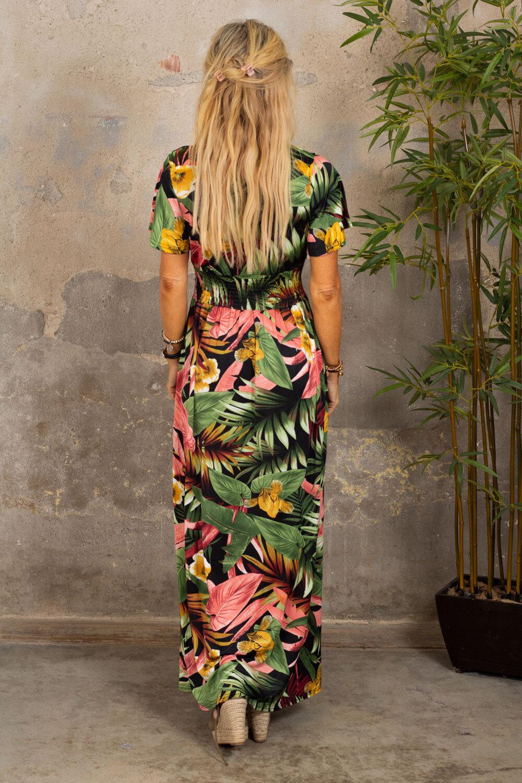 Sheila långklänning - Tropisk - Svart