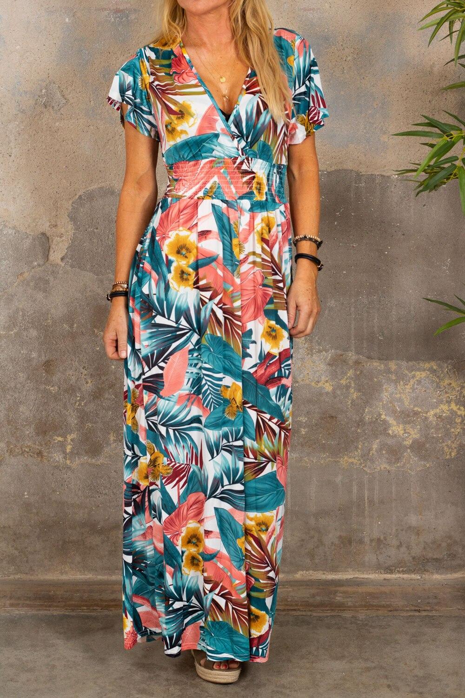Sheila långklänning - Tropisk - Vit